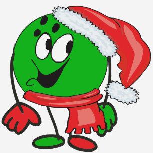 af1ea32b6c731 Happy christmas bowling ball wearing a santa cap T-Shirt