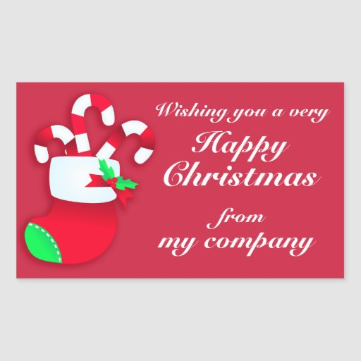 Happy Christmas candy business gift labels Rectangle ...