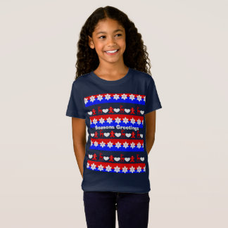 Happy Christmas Cute Traditional Patterned T-Shirt