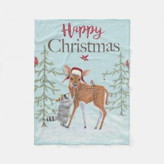 Happy Christmas Fawn and Racoon Fleece Blanket