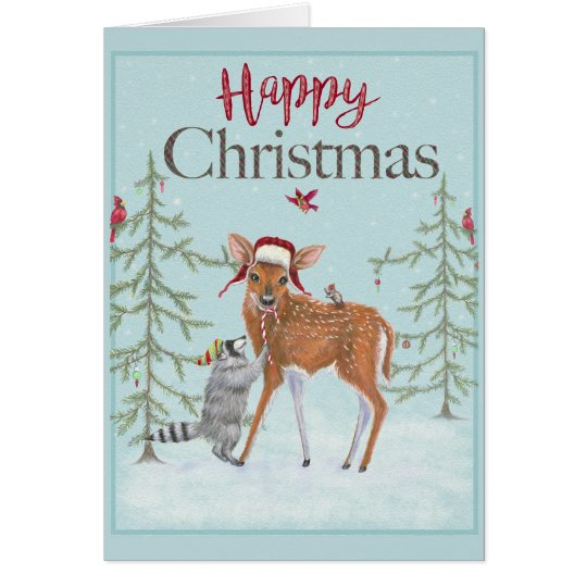Happy Christmas Fawn and Racoon Greeting Card