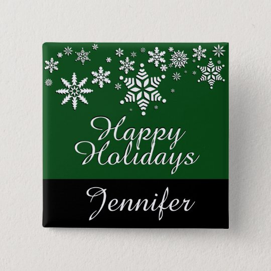 Happy Christmas Holidays - Dark Green 15 Cm Square Badge