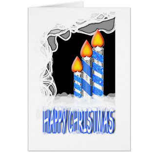 """""""Happy Christmas"""" lit candles greeting Greeting Card"""