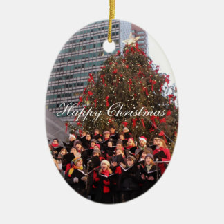 Happy Christmas New York Ceramic Oval Decoration