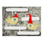 Happy christmas Santa Claus december bird postcard