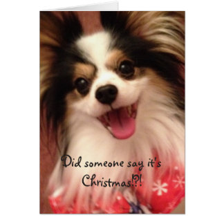 Happy Christmas Smiling Papillon Card