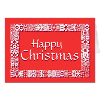 Happy Christmas Snowflake Border Greetings Card
