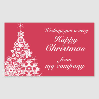 Happy Christmas snowflake tree gift labels Rectangular Sticker