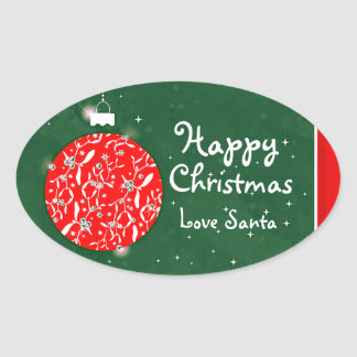 Happy Christmas sparkle bauble gift sticker green Oval Sticker
