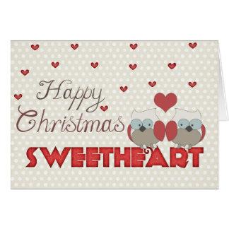 Happy Christmas Sweetheart Owls Card