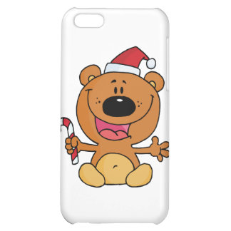 Happy Christmas Teddy Bear Holding A Candy Cane iPhone 5C Case