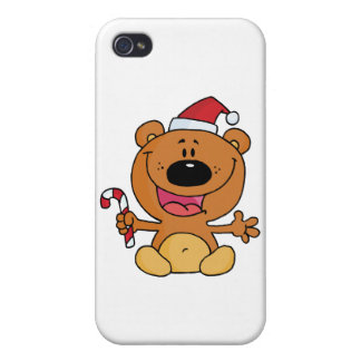 Happy Christmas Teddy Bear Holding A Candy Cane iPhone 4/4S Covers