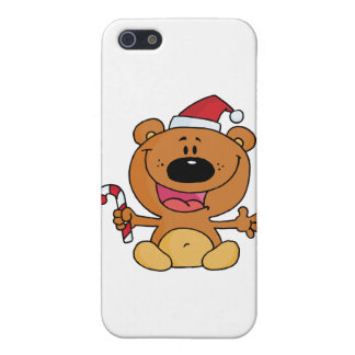 Happy Christmas Teddy Bear Holding A Candy Cane iPhone 5 Cases