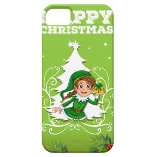 Happy christmas theme with elf and present iPhone 5 cover