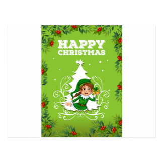 Happy christmas theme with elf and present postcard