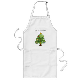 Happy Christmas Tree (Add Your Own Text) Long Apron