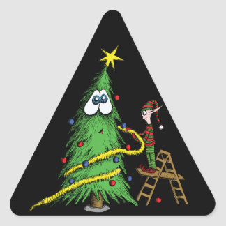 Happy Christmas Tree and Decorating Elf Triangle Sticker