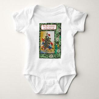 Happy Christmas tree & Christmas Elves Baby Bodysuit