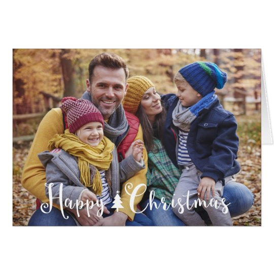 Happy Christmas Tree Photo Greeting Card