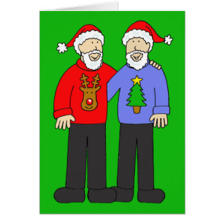 Happy Christmas  two gay men in beards. Card