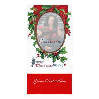 HAPPY CHRISTMAS WISHES WITH HOLLY BERRIES PHOTO GREETING CARD