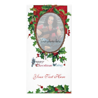 HAPPY CHRISTMAS WISHES WITH HOLLY BERRIES PHOTO CARD TEMPLATE