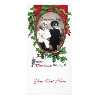HAPPY CHRISTMAS WISHES WITH HOLLY BERRIES PHOTO CARD