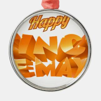 Happy Cinco De Mayo Banner Silver-Colored Round Decoration
