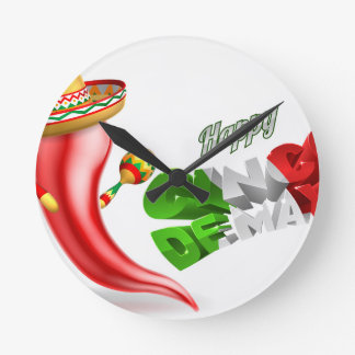 Happy Cinco De Mayo Chilli Pepper Design Round Clock