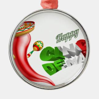 Happy Cinco De Mayo Chilli Pepper Design Silver-Colored Round Decoration