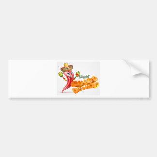 Happy Cinco De Mayo Chilli Pepper Mexican Design Bumper Sticker