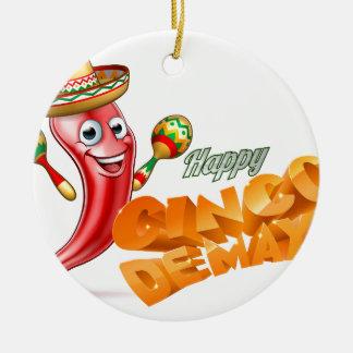 Happy Cinco De Mayo Chilli Pepper Mexican Design Round Ceramic Decoration