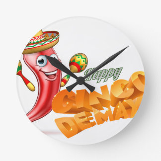 Happy Cinco De Mayo Chilli Pepper Mexican Design Round Clock
