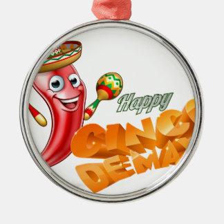 Happy Cinco De Mayo Chilli Pepper Mexican Design Silver-Colored Round Decoration