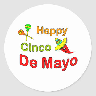 Happy Cinco De Mayo Classic Round Sticker