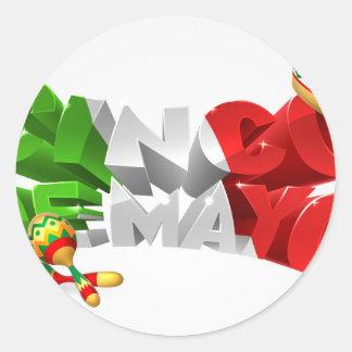 Happy Cinco De Mayo Design Round Sticker