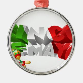 Happy Cinco De Mayo Design Silver-Colored Round Decoration