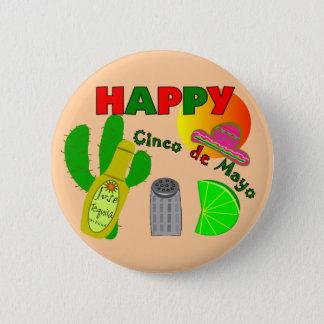 """Happy Cinco de Mayo"" Lime, Tequila & Salt Design 6 Cm Round Badge"