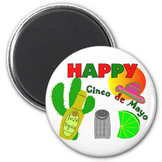 """Happy Cinco de Mayo"" Lime, Tequila & Salt Design Magnet"