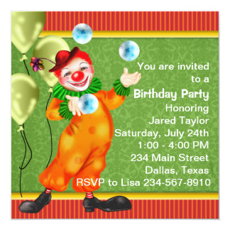 Happy Circus Clown Birthday Party Card