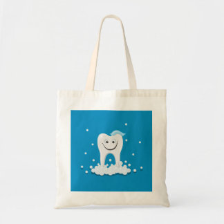 Happy clean tooth budget tote bag