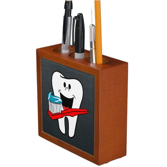Happy clean tooth pencil holder