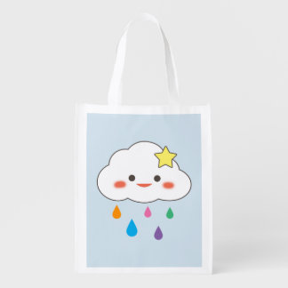 Happy Cloud & Rainbow Droplets Reusable Grocery Bag