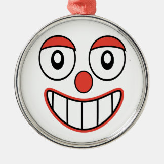 Happy Clown Cartoon Drawing Silver-Colored Round Decoration