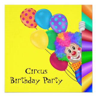 Happy Clown Circus Birthday Party Personalized Invites