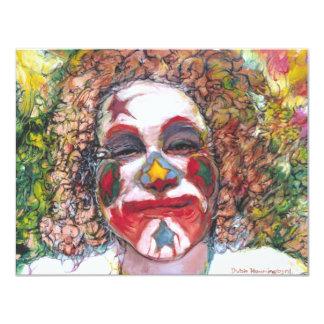 """Happy Clown """"Dubie Hummingbyrd"""" 4.25x5.5 Paper Invitation Card"""