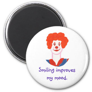 Happy Clown Face, Smiling improves my mood 6 Cm Round Magnet