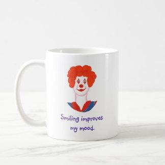 Happy Clown Face, Smiling improves my mood Basic White Mug