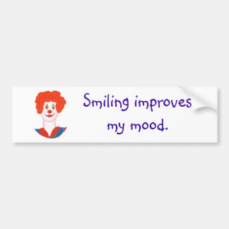 Happy Clown Face, Smiling improves my mood Car Bumper Sticker