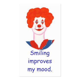 Happy Clown Face, Smiling improves my mood cards Double-Sided Standard Business Cards (Pack Of 100)
